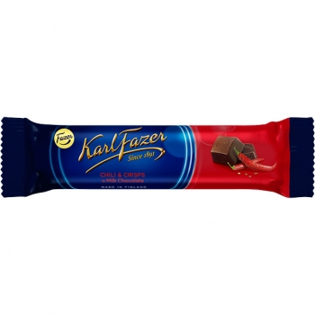 Karl Fazer Chili & Crisps in Milk Chocolate 35 x 37g