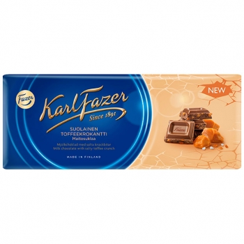 Karl Fazer Salty Toffee Crunch in Milk Chocolate 22x200g