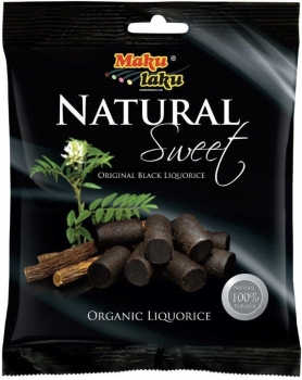 Makulaku Natural Sweet Black Finnisches BIO-Lakritz, 12 x 100g